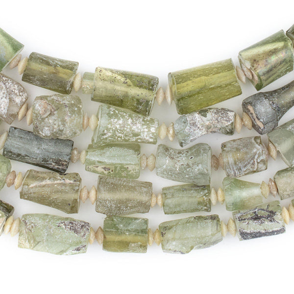 Rectangular Ancient Roman Glass Beads (Sea Green) - The Bead Chest