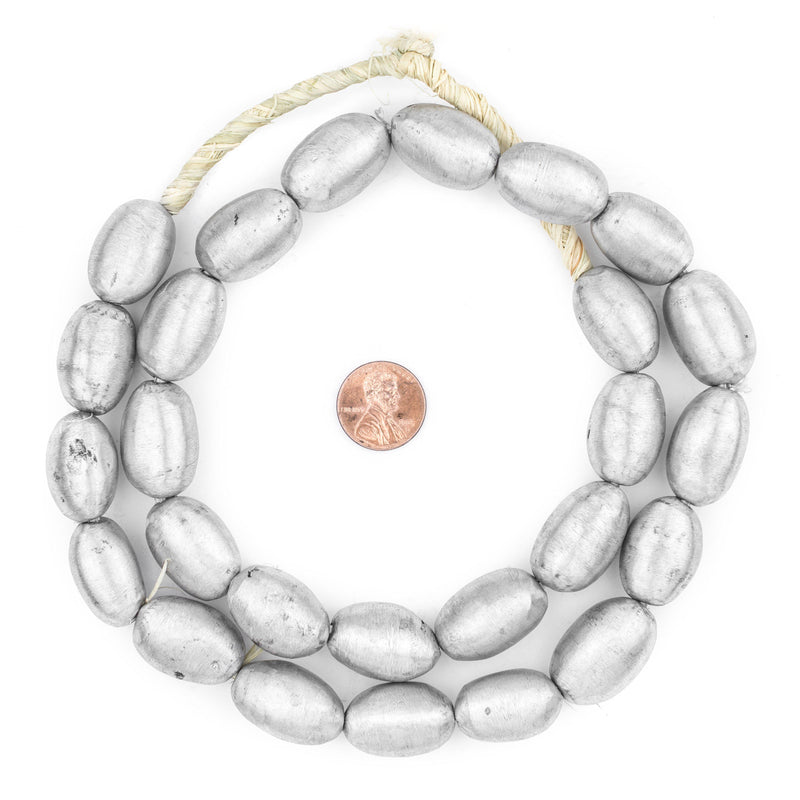 Oval Maasai Silver Beads (24x16mm) - The Bead Chest