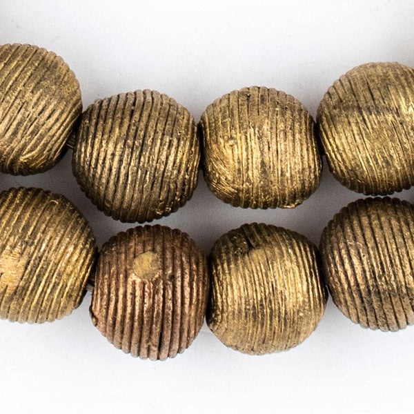 Wound Round Brass Beads (17mm) - The Bead Chest