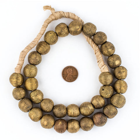 Image of Wound Round Brass Beads (17mm) - The Bead Chest