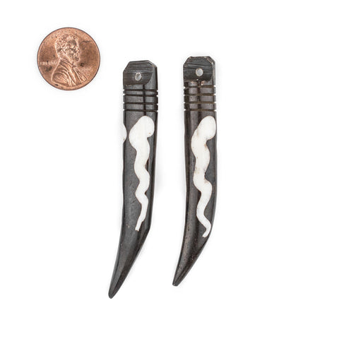 Image of Batik Bone Tooth Pendant - Wave Design (Set of 2) - The Bead Chest