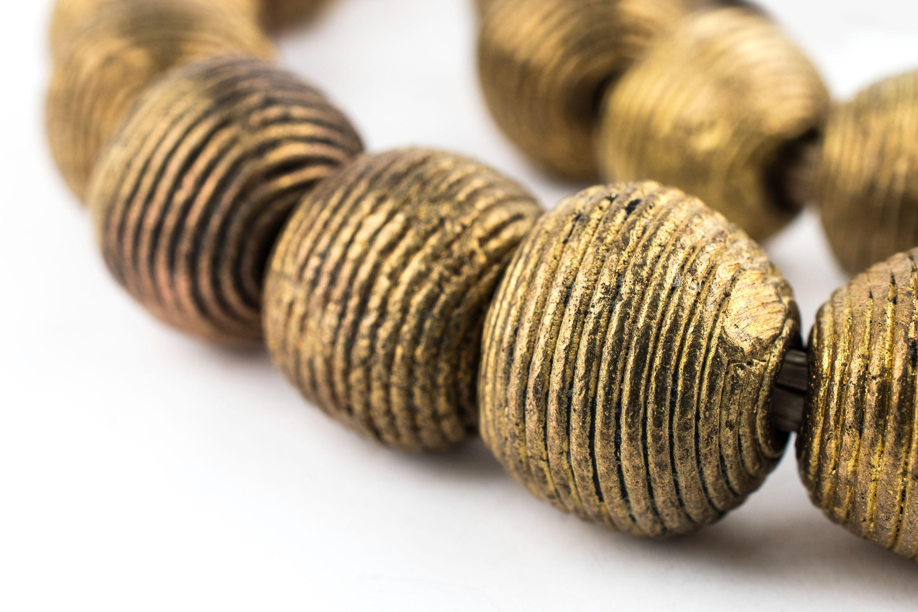 Wound Round Brass Beads 17mm Ghana African Large Hole 25