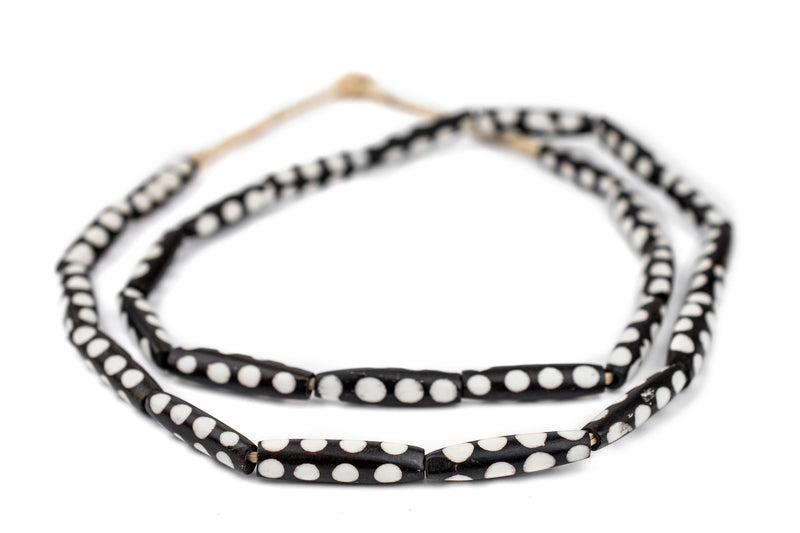 Polka Dot Design Batik Bone Beads (Elongated) - The Bead Chest