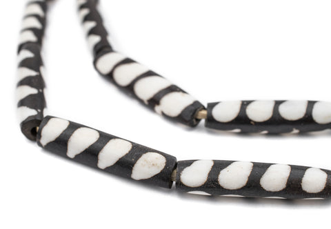 Stripe Design Batik Bone Beads (Elongated) - The Bead Chest