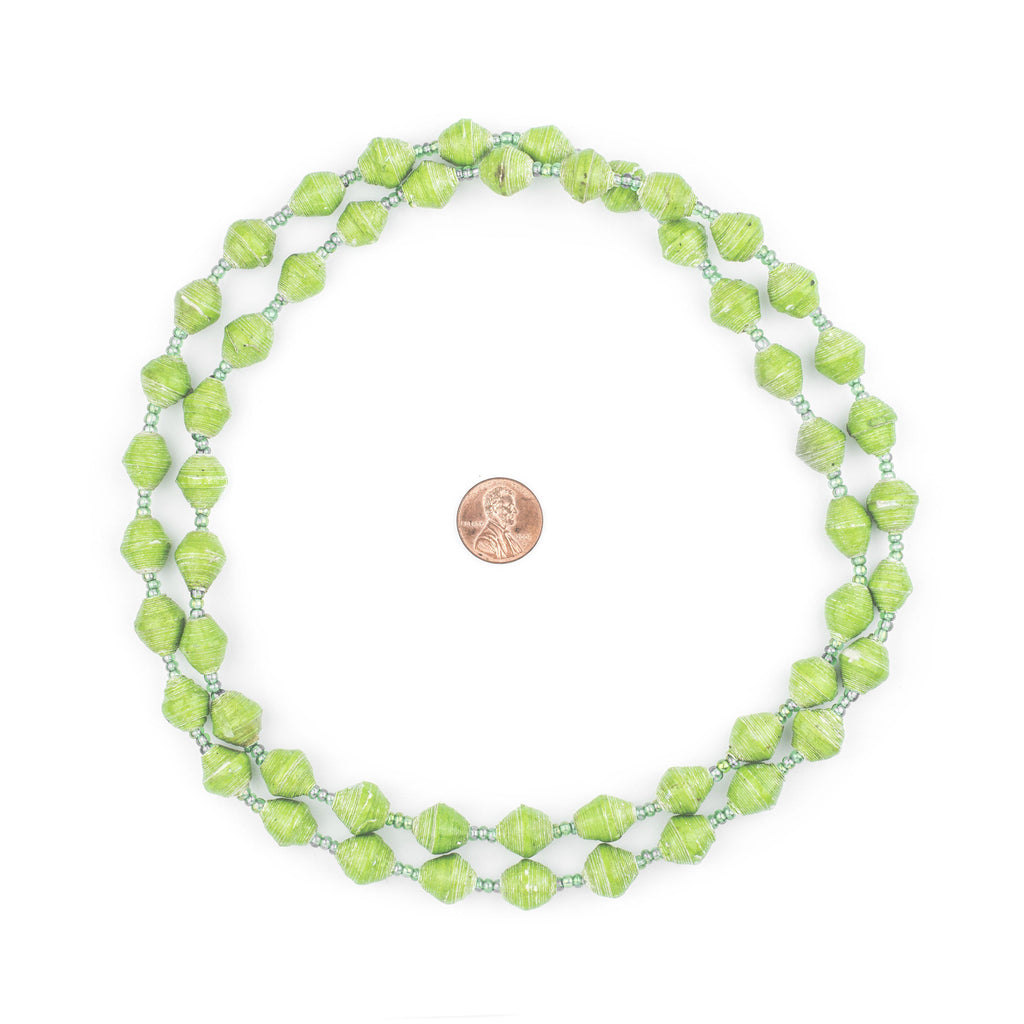 Pear Green Recycled Paper Beads from Uganda - The Bead Chest