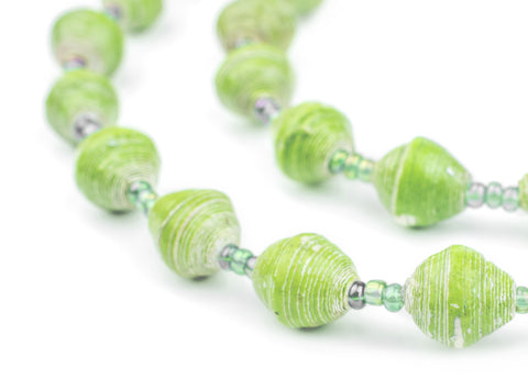 Image of Pear Green Recycled Paper Beads from Uganda - The Bead Chest