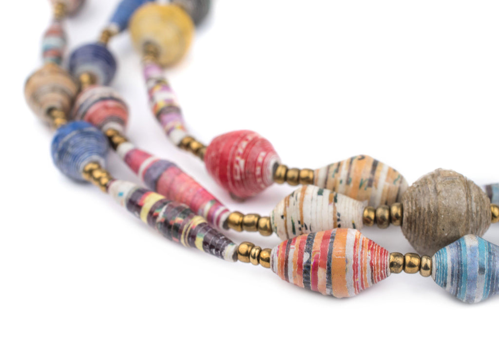 Mixed Recycled Paper Beads from Uganda - The Bead Chest