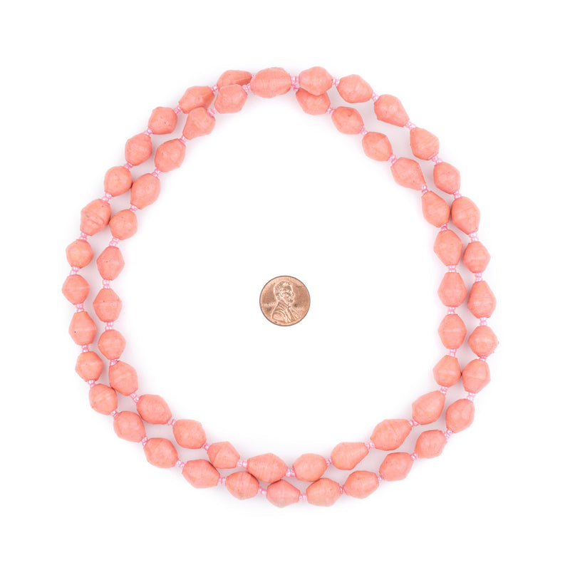 Salmon Pink Recycled Paper Beads from Uganda - The Bead Chest