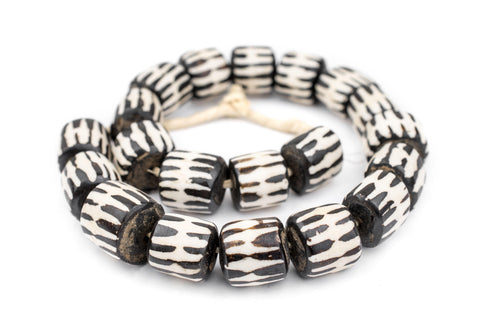 Image of Chevron Design Batik Bone Beads (Barrel) - The Bead Chest