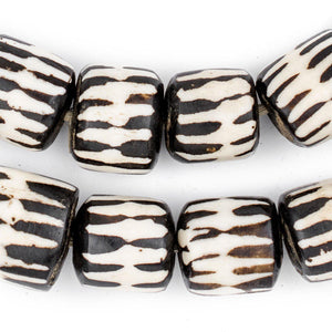 Chevron Design Batik Bone Beads (Barrel) - The Bead Chest