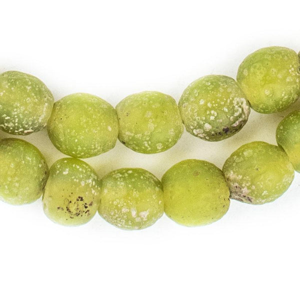 Lime Green Ancient Style Java Glass Beads (9mm) - The Bead Chest