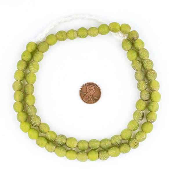 Lime Green Ancient Style Java Glass Beads (9mm)
