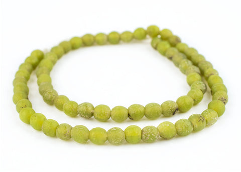 Image of Lime Green Ancient Style Java Glass Beads (9mm) - The Bead Chest