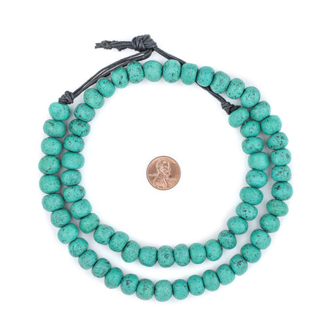 Amazonite Moroccan Pottery Beads (Round - 12mm) - The Bead Chest