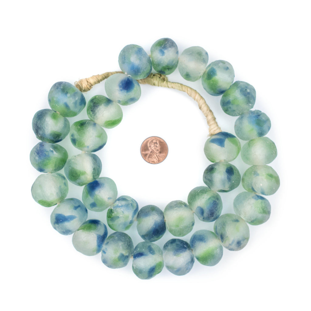 Jumbo Blue-Green Swirl Recycled Glass Beads (24mm) - The Bead Chest