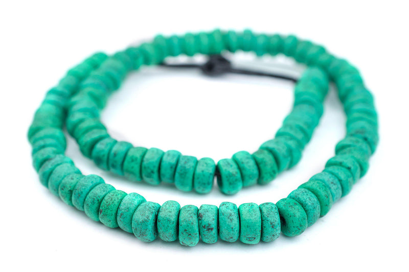 Amazonite Moroccan Pottery Beads (Rondelle) - The Bead Chest