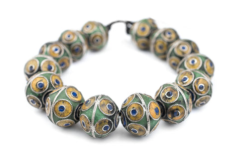 Artisanal Enameled Multicolor Silver Berber Beads - The Bead Chest