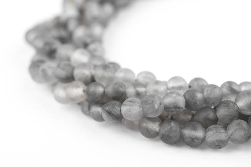 Matte Round Cloudy Quartz Beads (4mm) - The Bead Chest