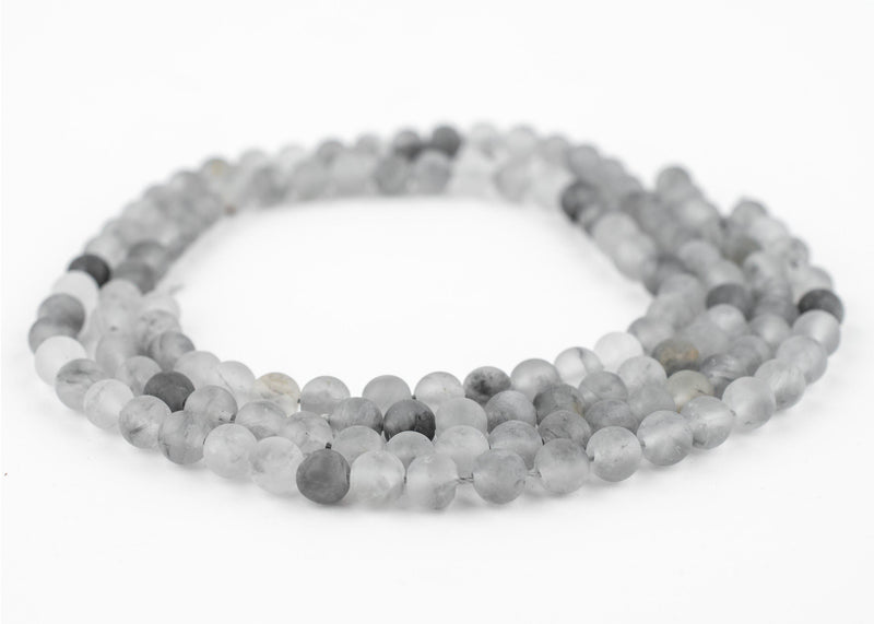 Matte Round Cloudy Quartz Beads (6mm) - The Bead Chest