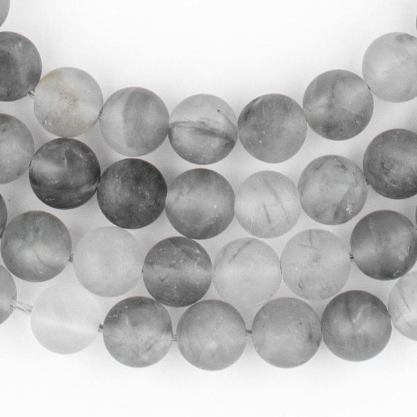 Matte Round Cloudy Quartz Beads (8mm) - The Bead Chest