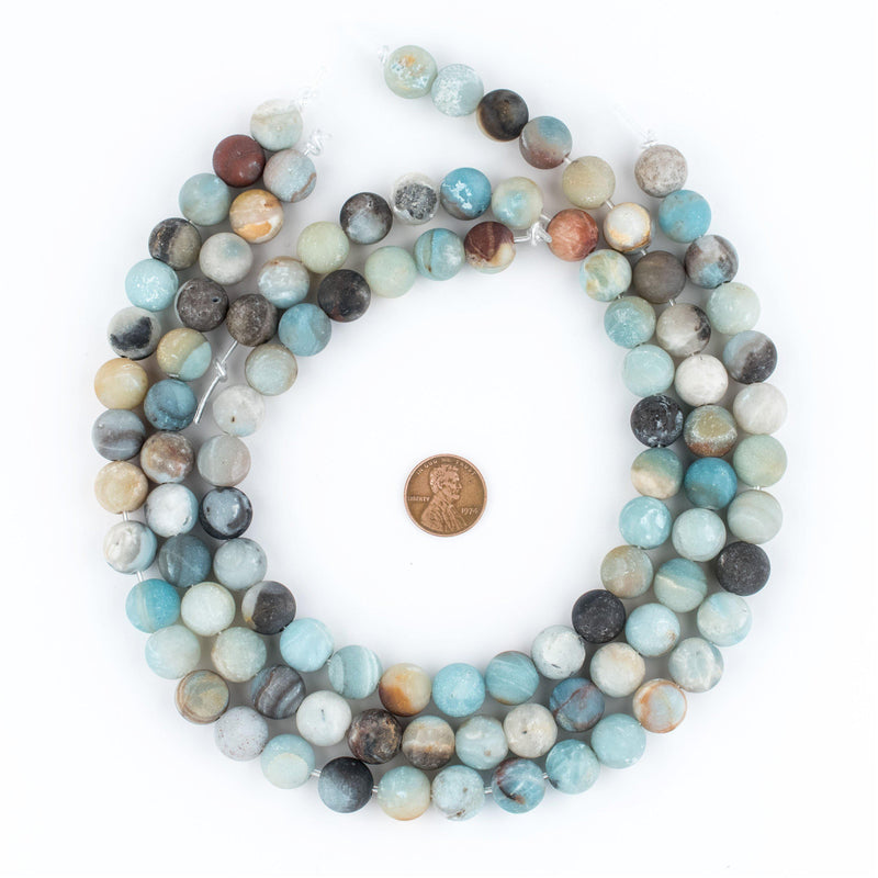 Spherical Amazonite Stone Beads (12mm) (Large Hole) - The Bead Chest