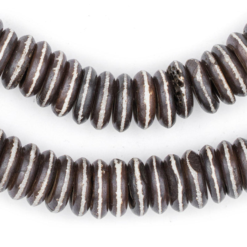 Brown Striped Disk Bone Mala Beads (4x14mm) - The Bead Chest