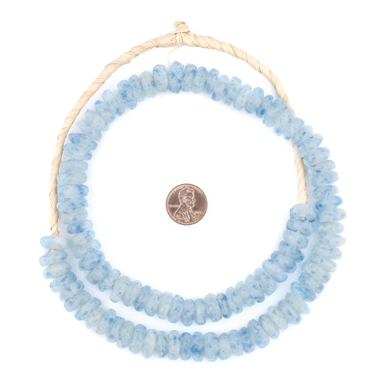 Blue Mist Rondelle Recycled Glass Beads - The Bead Chest