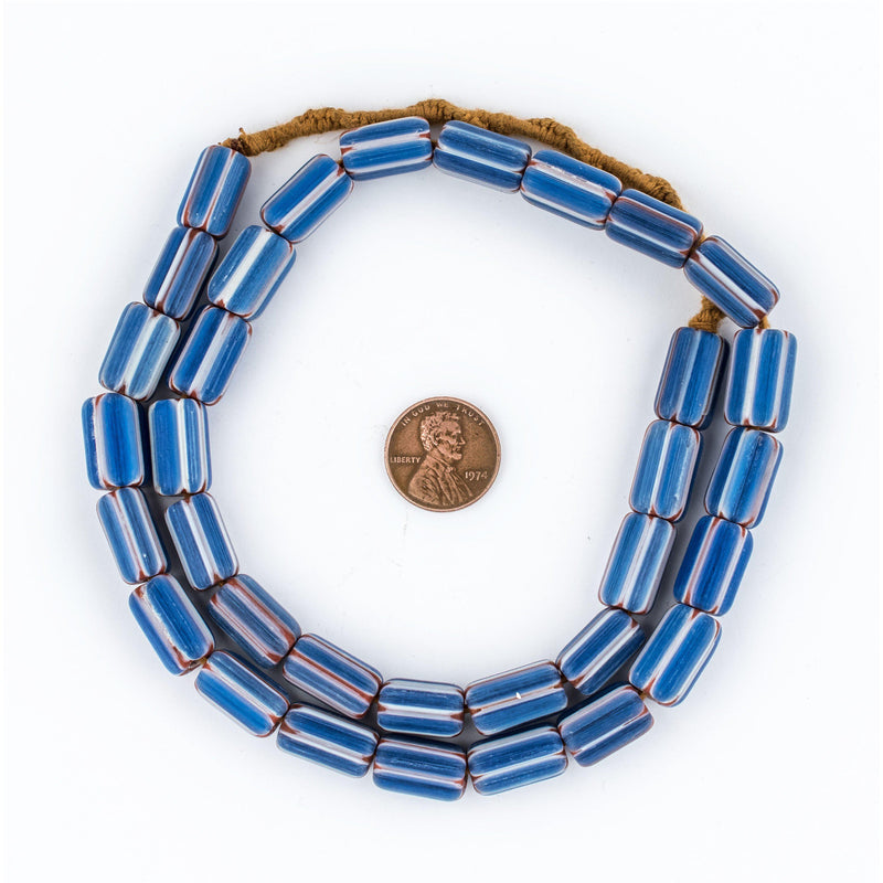 Blue & White Nepal Chevron Beads (15x9mm) - The Bead Chest