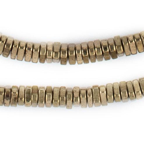Faceted Brass Triangle Heishi Beads (4mm) - The Bead Chest