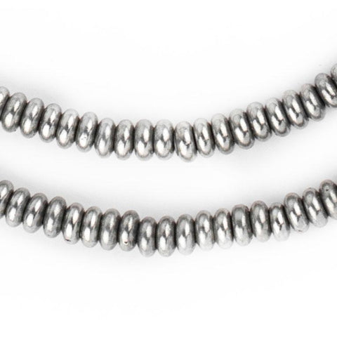 Smooth Silver Rondelle Beads (5mm) - The Bead Chest