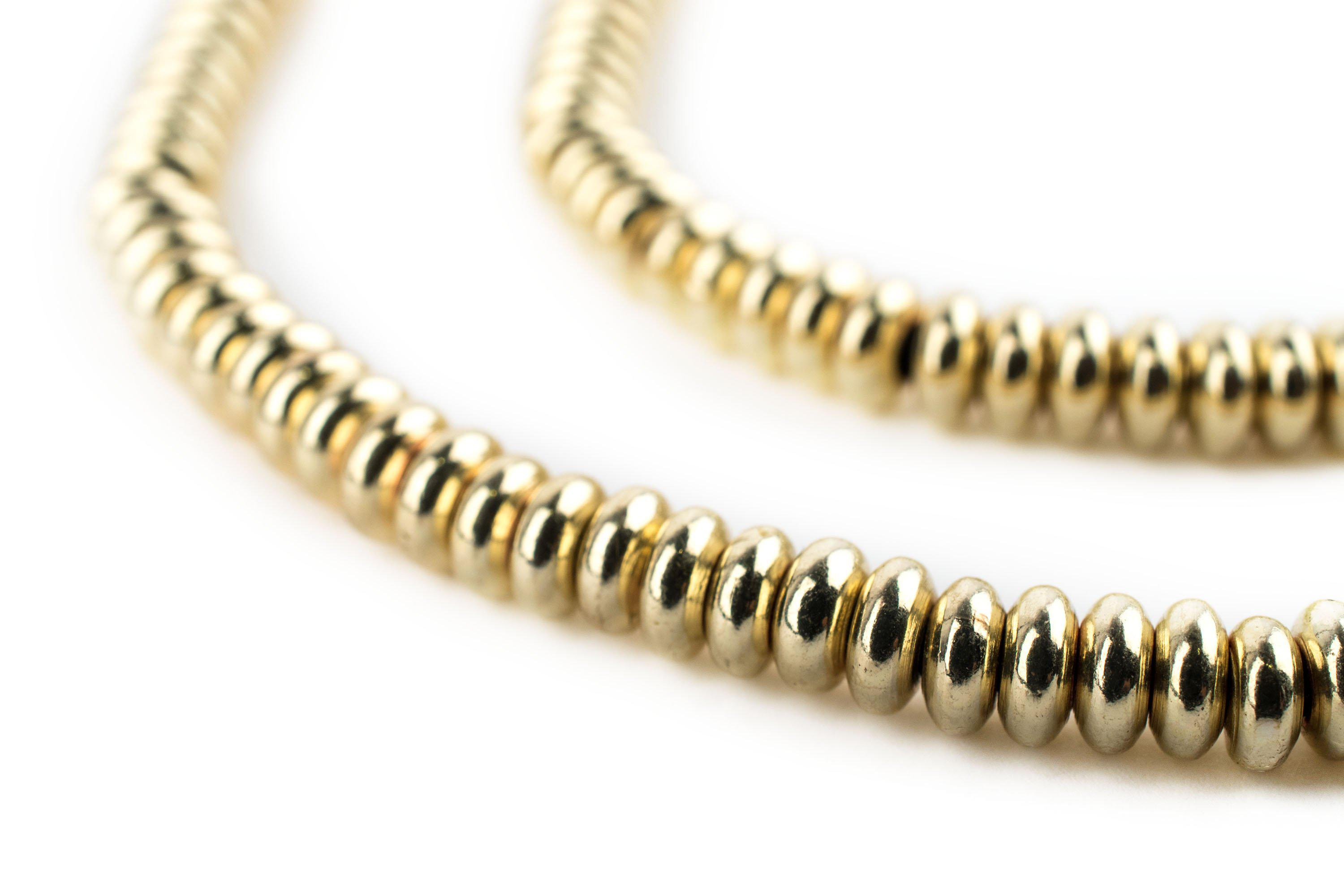 Smooth Brass Padre Beads 9mm Round Large Hole 16 Inch Strand