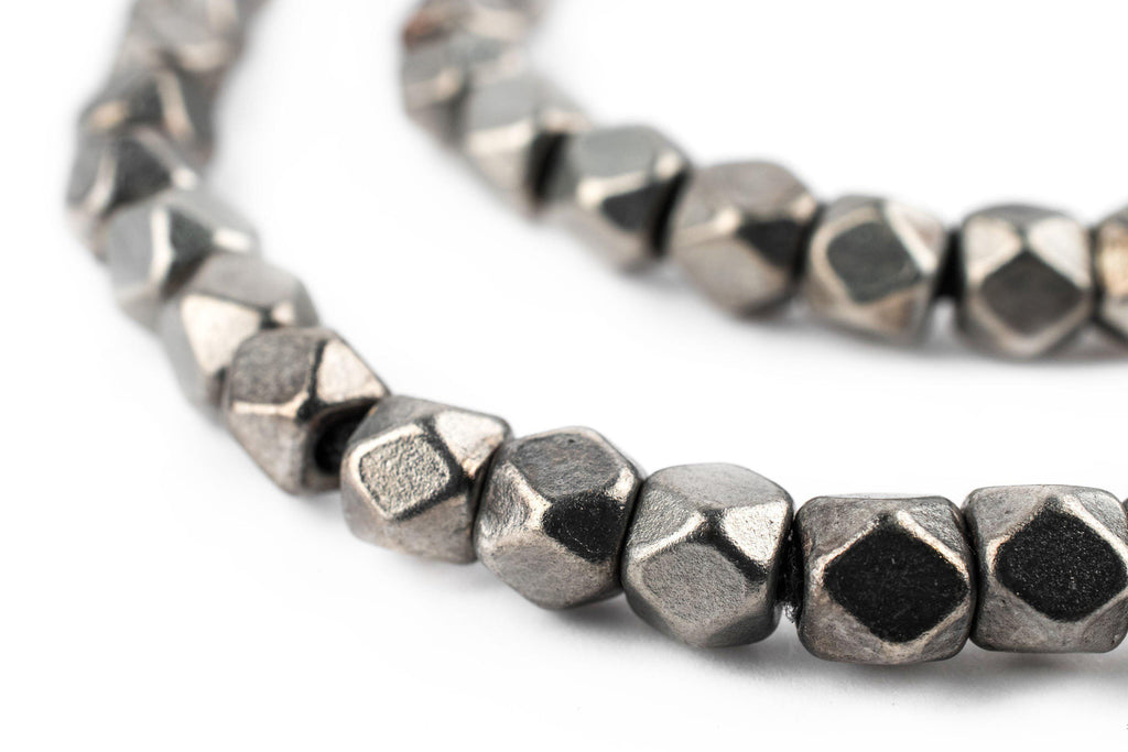 Dark Silver Faceted Diamond Cut Beads (6mm) - The Bead Chest