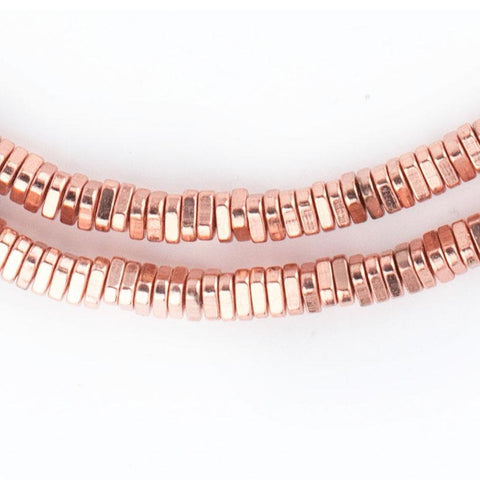 Faceted Copper Triangle Heishi Beads (4mm) - The Bead Chest