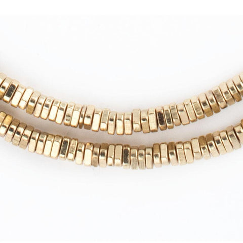 Image of Faceted Gold Triangle Heishi Beads (4mm) - The Bead Chest