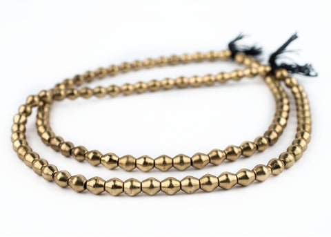 Smooth Brass Bicone Beads (8x7mm) - The Bead Chest