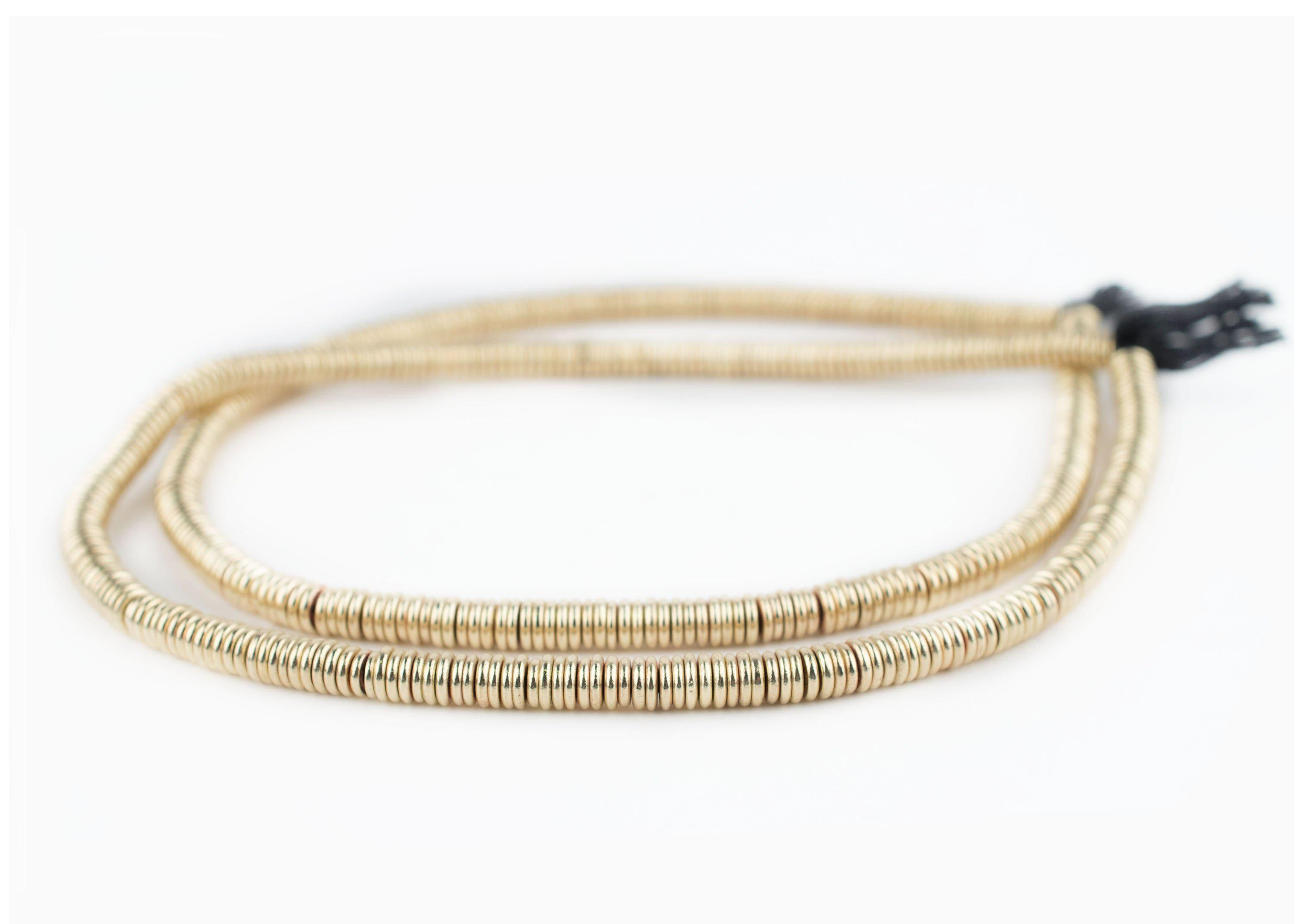 Smooth Extra Large Gold Heishi Beads 6mm Brass Large Hole 16 Inch Strand