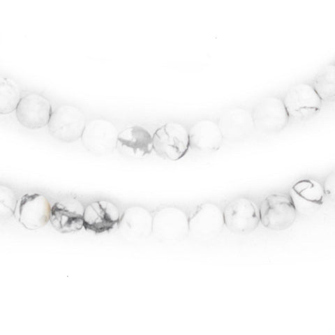 White Round Howlite Beads (4mm) - The Bead Chest