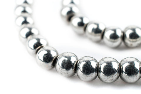 Bright Silver Round Sphere Beads (6mm) - The Bead Chest
