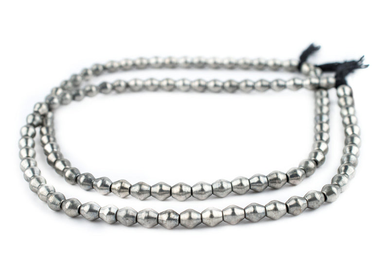 Smooth Silver Bicone Beads (8x7mm) - The Bead Chest
