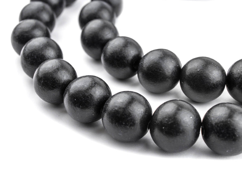 Black Natural Wood Beads (16mm) - The Bead Chest