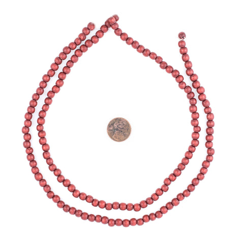 Cherry Red Natural Wood Beads (6mm) - The Bead Chest