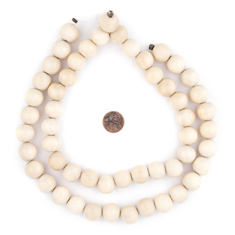 Cream Natural Wood Beads (16mm) - The Bead Chest