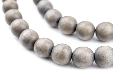 Grey Natural Wood Beads (12mm) - The Bead Chest