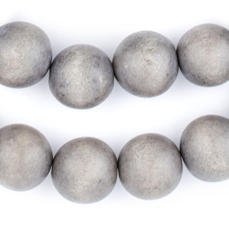 Grey Natural Wood Beads (20mm) - The Bead Chest