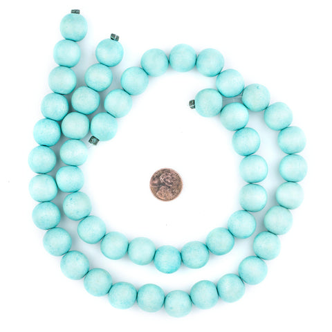 Mint Green Natural Wood Beads (16mm) - The Bead Chest