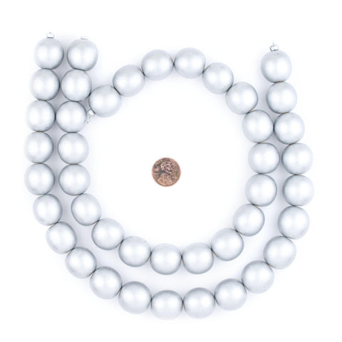 Silver Natural Wood Beads (20mm) - The Bead Chest