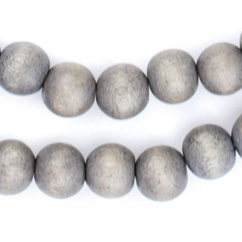 Grey Natural Wood Beads (10mm) - The Bead Chest