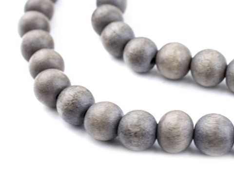 Image of Grey Natural Wood Beads (10mm) - The Bead Chest