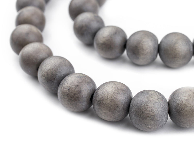 Grey Natural Wood Beads (16mm) - The Bead Chest