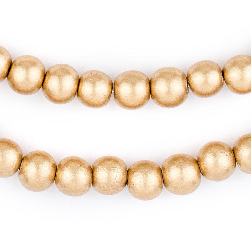 Gold Natural Wood Beads (8mm) - The Bead Chest